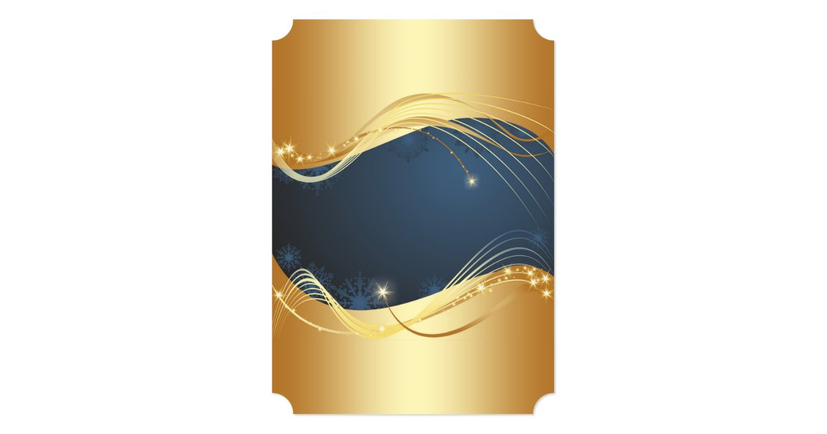 Golden Christmas motive with blue background... Holiday Card | Zazzle.com