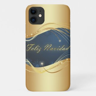 Golden Christmas motive with blue background... iPhone 11 Case
