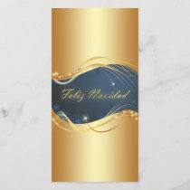 Golden Christmas motive with blue background... Holiday Card