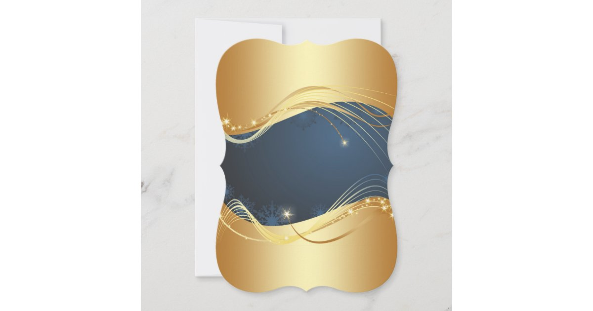 Golden Christmas motive with blue background... Holiday Card   Zazzle.com