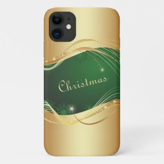 Golden Christmas motive with green background... iPhone 11 Case