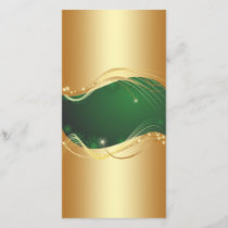 Golden Christmas motive with green background... Holiday Card