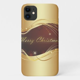 Golden Christmas motive with red background iPhone 11 Case