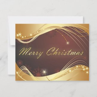 Golden Christmas motive with red background Holiday Card