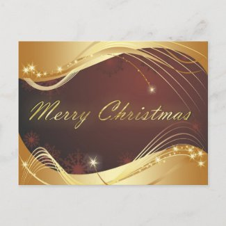 Golden Christmas motive with red background Holiday Postcard