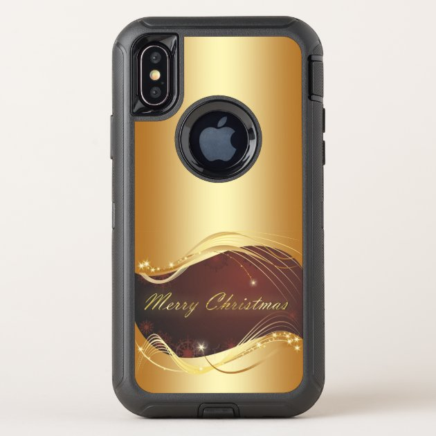 Golden Christmas motive with red background... OtterBox Defender iPhone X Case