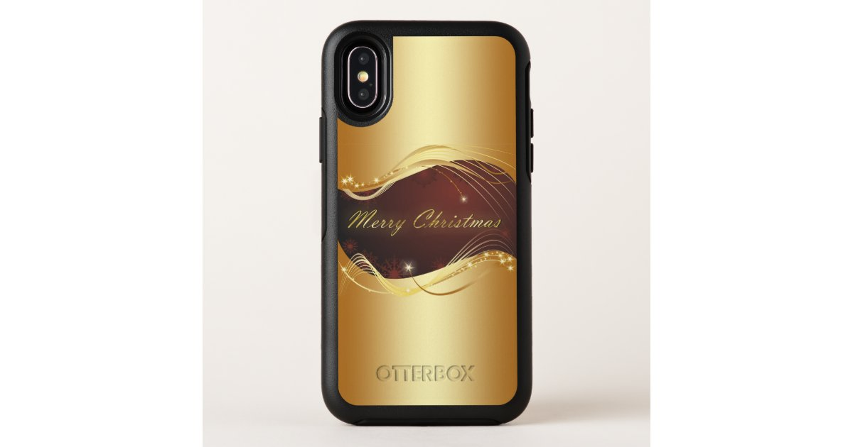 Golden Christmas motive with red background... OtterBox iPhone Case | Zazzle.com