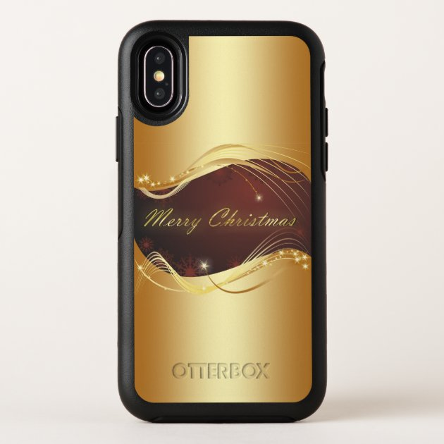 Golden Christmas motive with red background... OtterBox Symmetry iPhone X Case