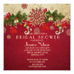 Golden Christmas Ornaments Red Bridal Shower 5.25x5.25 Square Paper Invitation Card