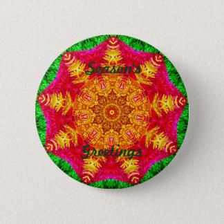 Golden Christmas Star Fractal Pinback Button