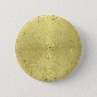 Golden Christmas Stars on Foil Paper Button