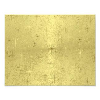Golden Christmas Stars on Foil Paper Art Photo