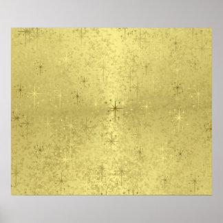 Golden Christmas Stars on Foil Paper Poster