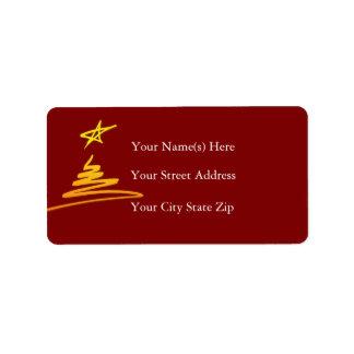 Golden Christmas Tree Address Label