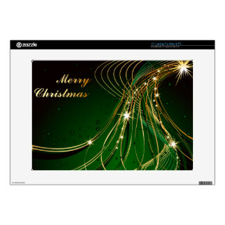 Golden Christmas Tree and Green Background Decal For Laptop