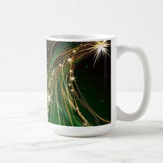 Golden Christmas Tree and Green Background Mug