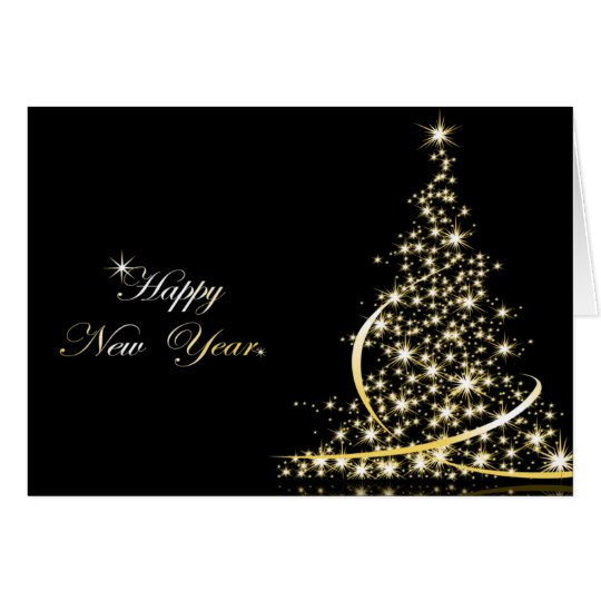 Golden Christmas Tree and New Year Greeting Card