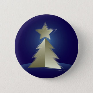 Golden Christmas tree Button