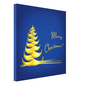 Golden Christmas Tree Gallery Wrapped Canvas