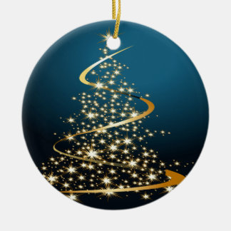 Golden Christmas Tree Ceramic Ornament