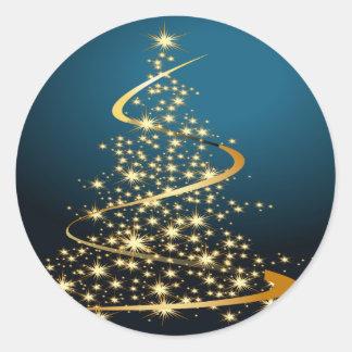 Golden Christmas Tree Classic Round Sticker