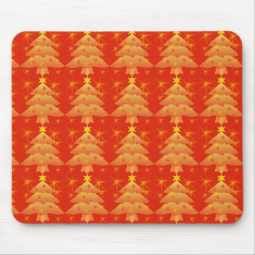 golden Christmas tree, holiday Mouse Pad
