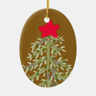 Golden Christmas Tree Oval Ornament