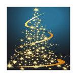 Golden Christmas Tree Premium Wrapped Canvas Canvas Print