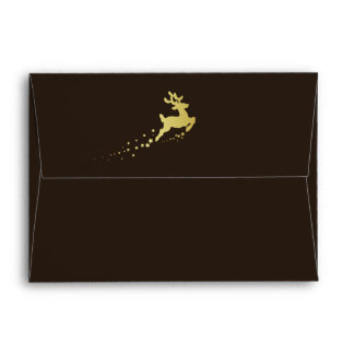 Golden Christmas Tree with Reindeer Envelope A7