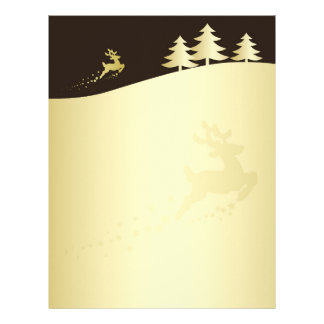 Golden Christmas Tree with Reindeer - Letterhead