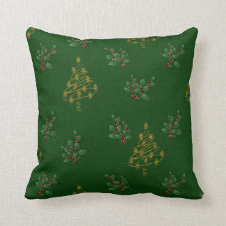 Golden Christmas Trees and Holly Pillow