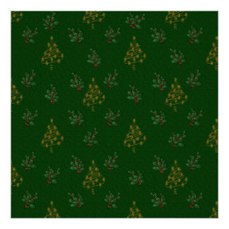 Golden Christmas Trees and Holly Poster