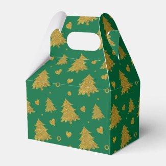 Golden Christmas Trees Gable Favor Box