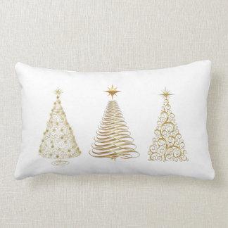 Golden christmas trees lumbar pillow