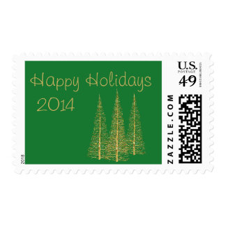 Golden Christmas Trees on Green Stamps