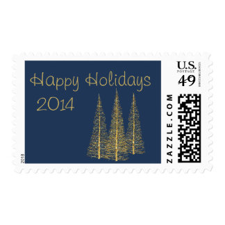 Golden Christmas Trees on Midnight Blue Stamps