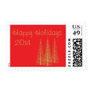 Golden Christmas Trees on Red Stamps