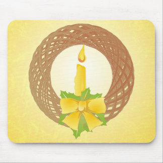 Golden Christmas wreath Mouse Pad