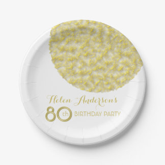 Golden Circle 80th Birthday Party Paper Plates 7 Inch Paper Plate