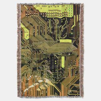 Golden Circuit Board Throw Blanket