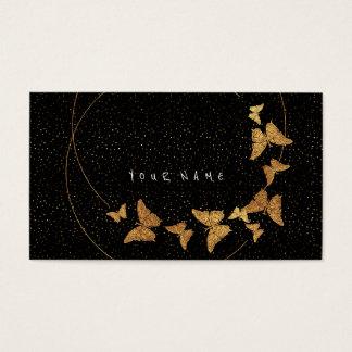 Golden Cirkles Glitter Confetti Butterfly Vip Business Card