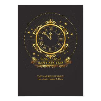 Golden Clock Holiday Card