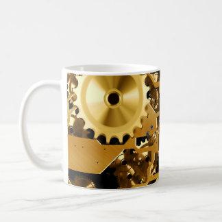 Golden clock mechanism coffee mug