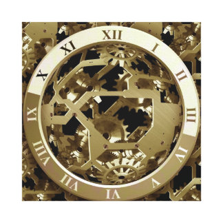 Golden Clocks and Gears Steampunk Mechanical Gifts Canvas Print