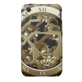 Golden Clocks and Gears Steampunk Mechanical Gifts iPhone 3 Case