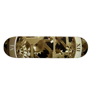 Golden Clocks and Gears Steampunk Mechanical Gifts Skateboard