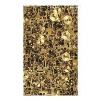Golden Clockwork Gear Pattern Texture Background Canvas Print