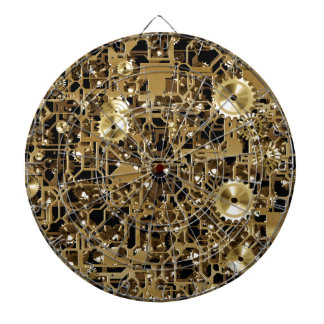 Golden Clockwork Gear Pattern Texture Background Dartboard
