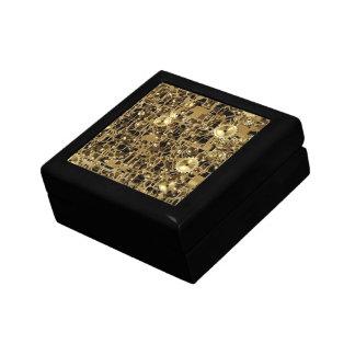 Golden Clockwork Gear Pattern Texture Background Gift Box