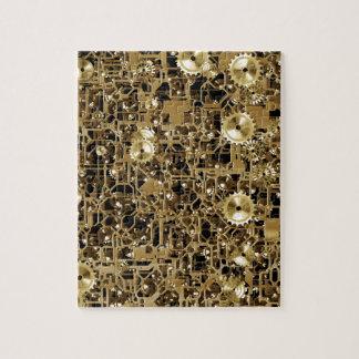 Golden Clockwork Gear Pattern Texture Background Jigsaw Puzzles